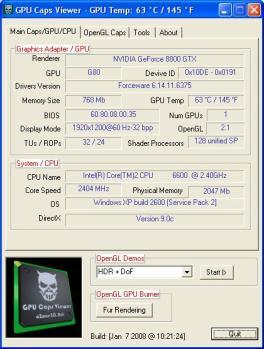 GPU Caps Viewer Screenshot
