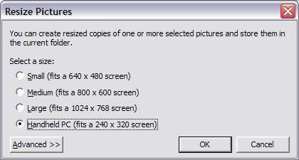 Microsoft Image Resizer Screenshot