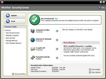 McAfee Total Protection Screenshot