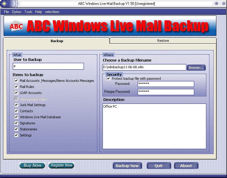 ABC Windows Live Mail Backup Screenshot