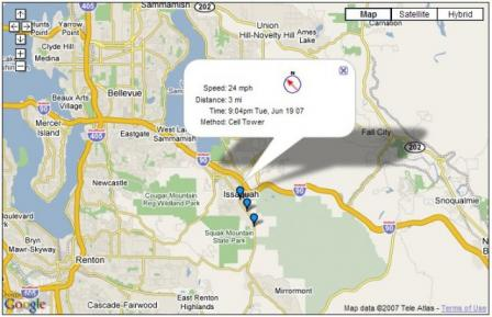 Google Map GPS Cell Phone Tracker Screenshot