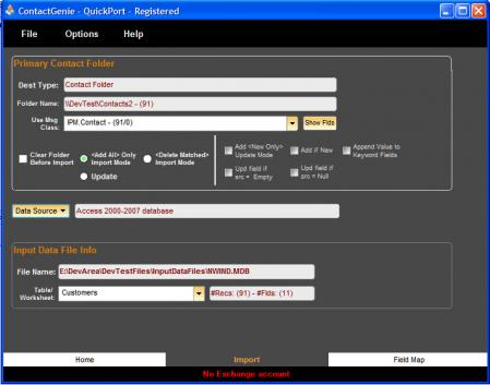 ContactGenie QuickPort Screenshot