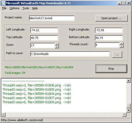 Microsoft VirtualEarth Map Downloader Screenshot
