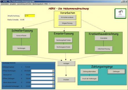 HERS-Hebammenabrechnung Screenshot