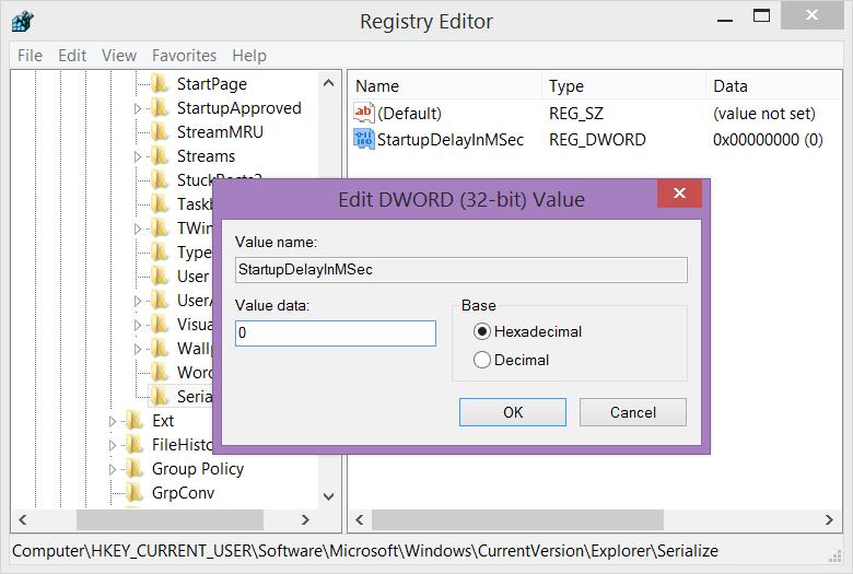 Windows 8 - Registry Editor - Edit DWORD parameter