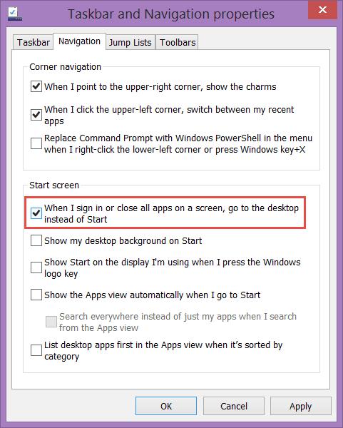 Windows 8.1 - Taskbar and Navigation Properties
