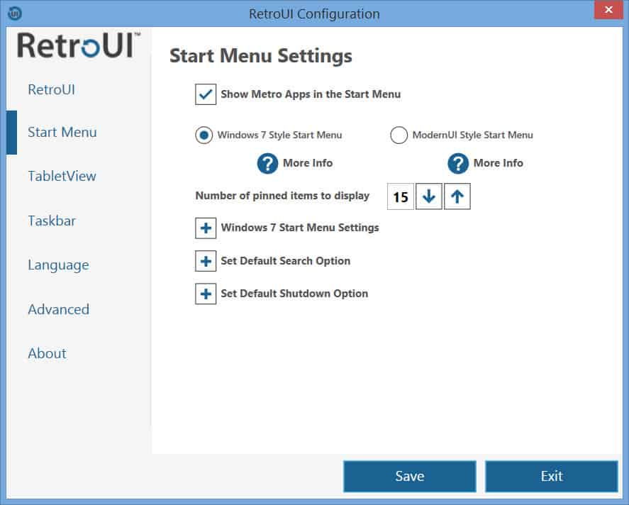RetroUI - Start Menu Settings tab