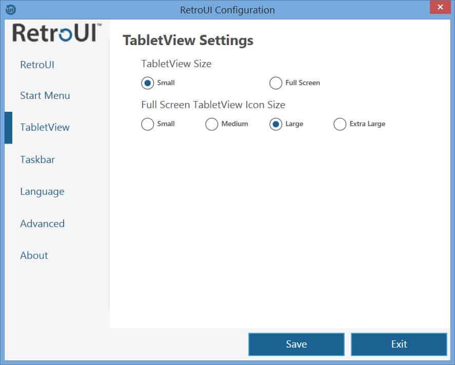 RetroUI - TabletView tab