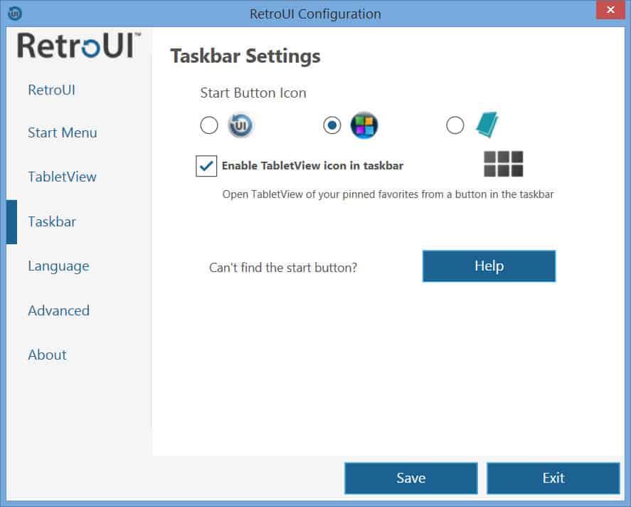 RetroUI - Taskbar Settings tab