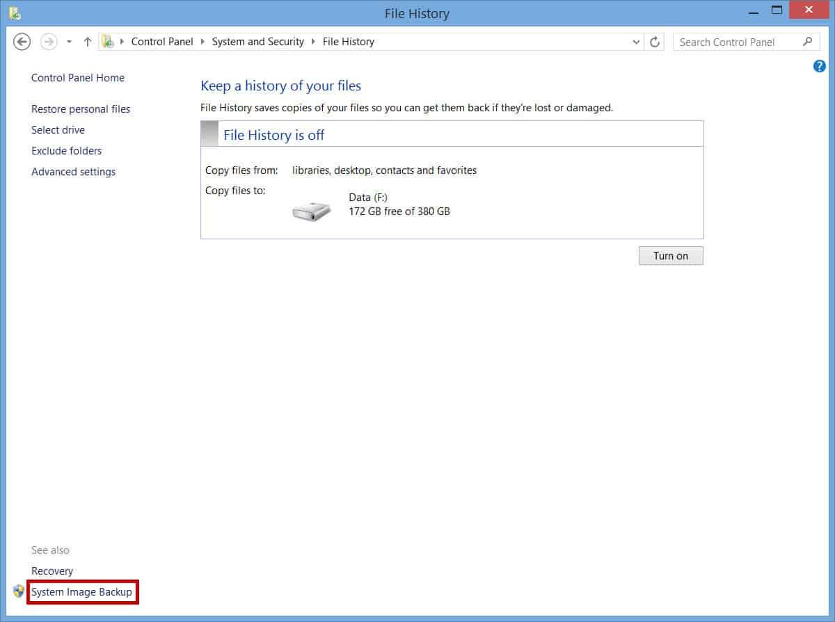 File History - System Image Backup