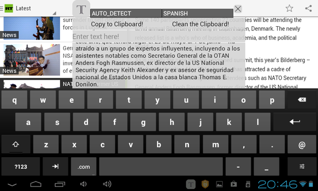 Inapp Translator input text or clear clipboard