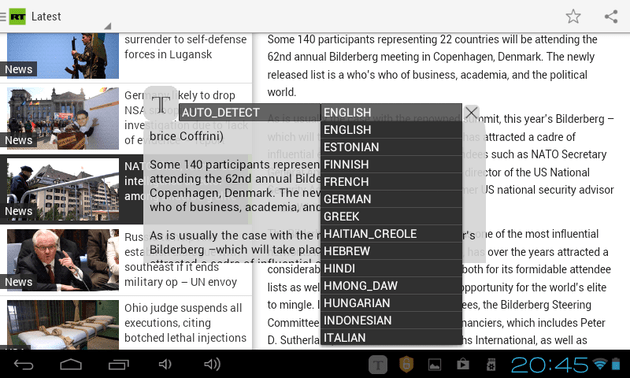 Inapp Translator languages