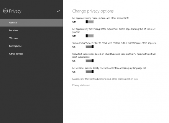 Privacy Options Windows 8.1