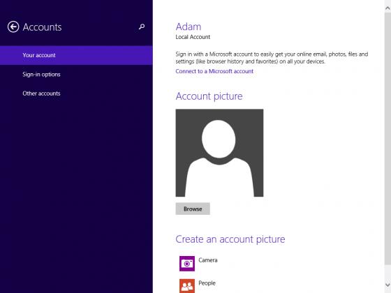 Your Account Windows 8.1