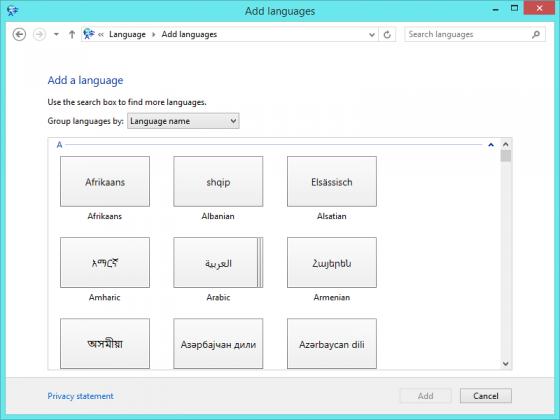Add Languages Control Panel