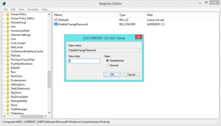 Disable Change Password Registry