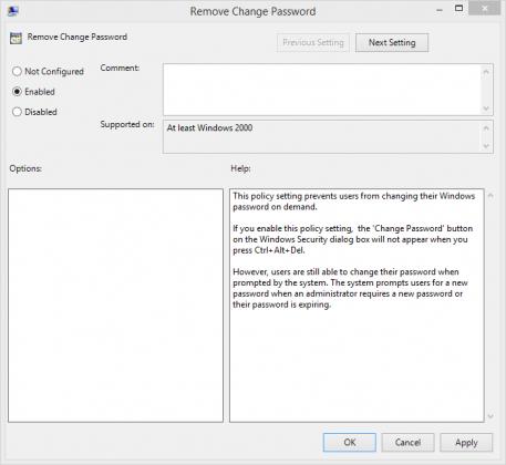 Remove Change Password Policy