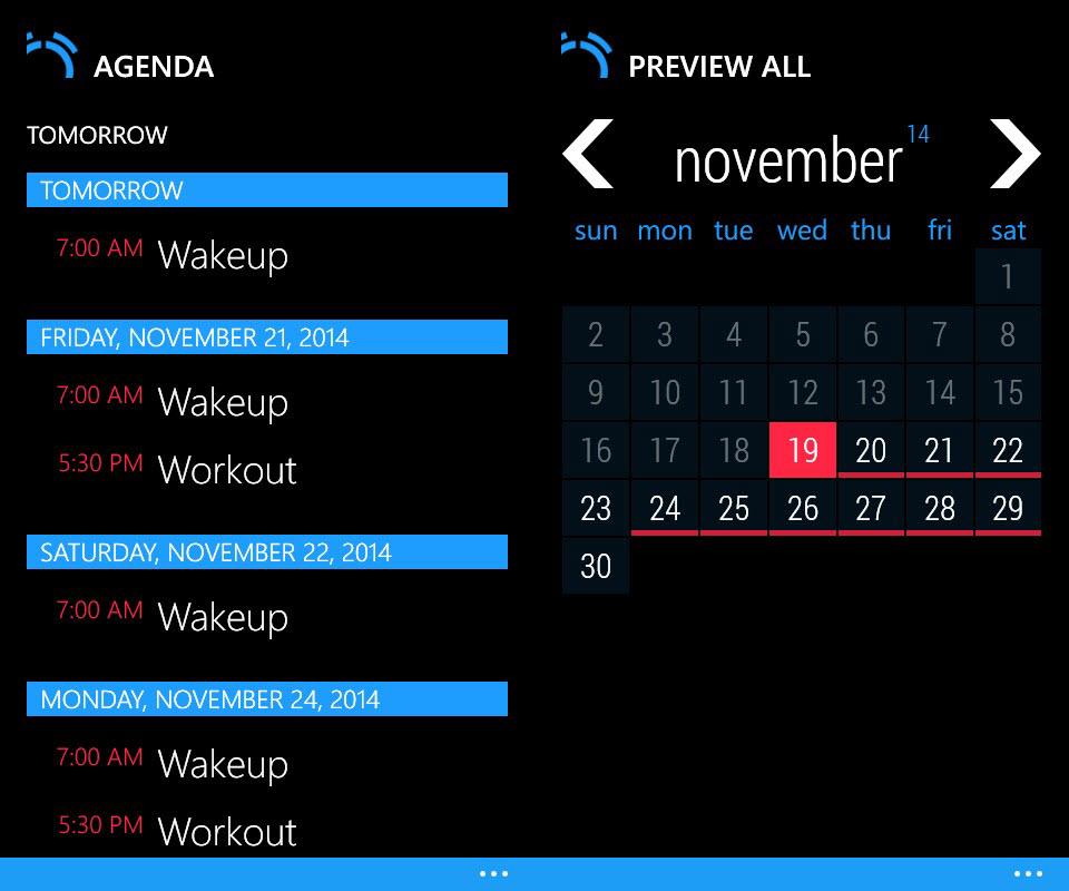 Realarm - Agenda and Calendar Views