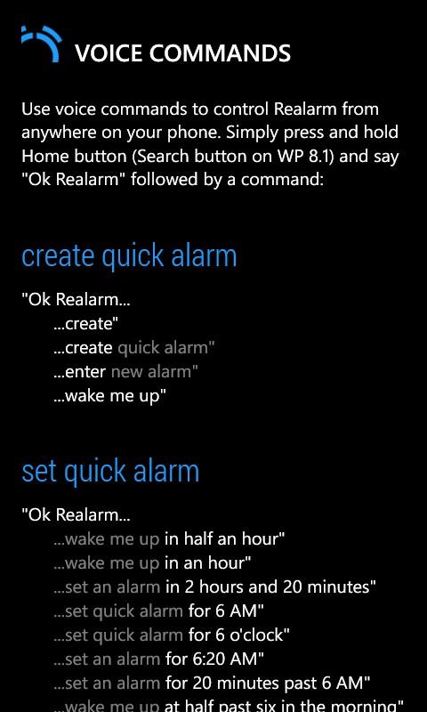 Realarm - Voice Commands