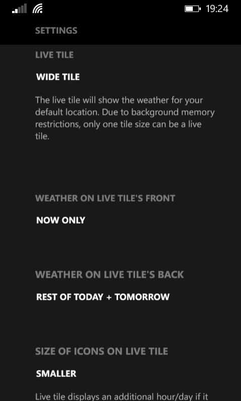 Appy Weather Live Tile Settings