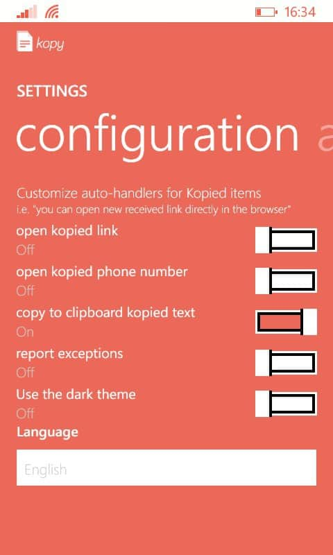Kopy for Windows Phone - Settings