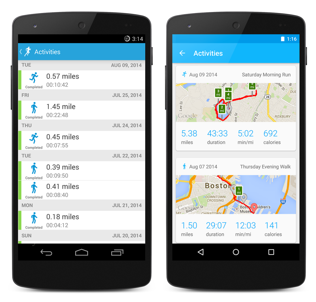 RunKeeper Old Vs New Activities