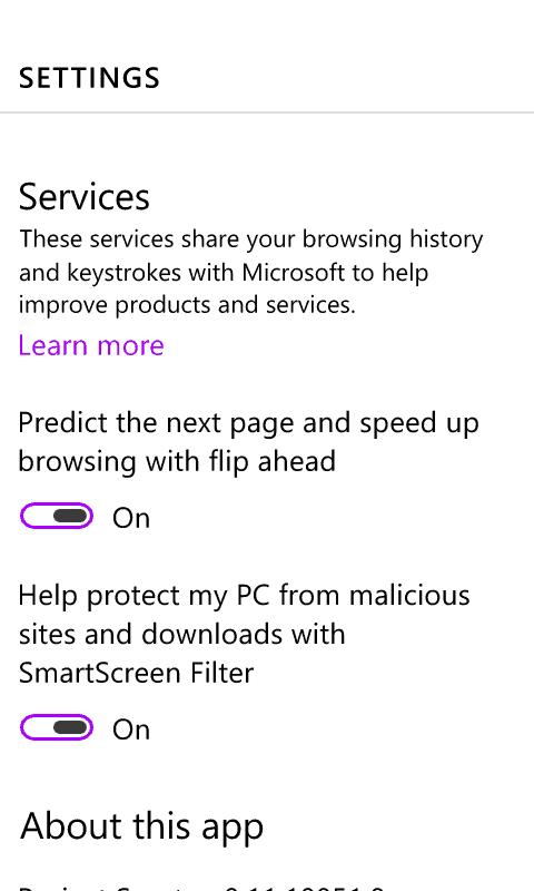 Spartan Windows 10 Phone - Settings 2