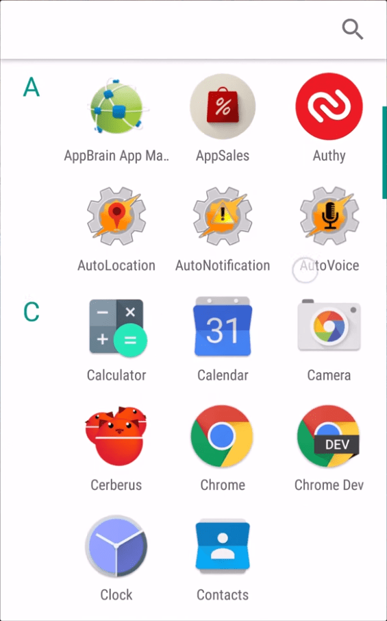 Android M App Drawer installed