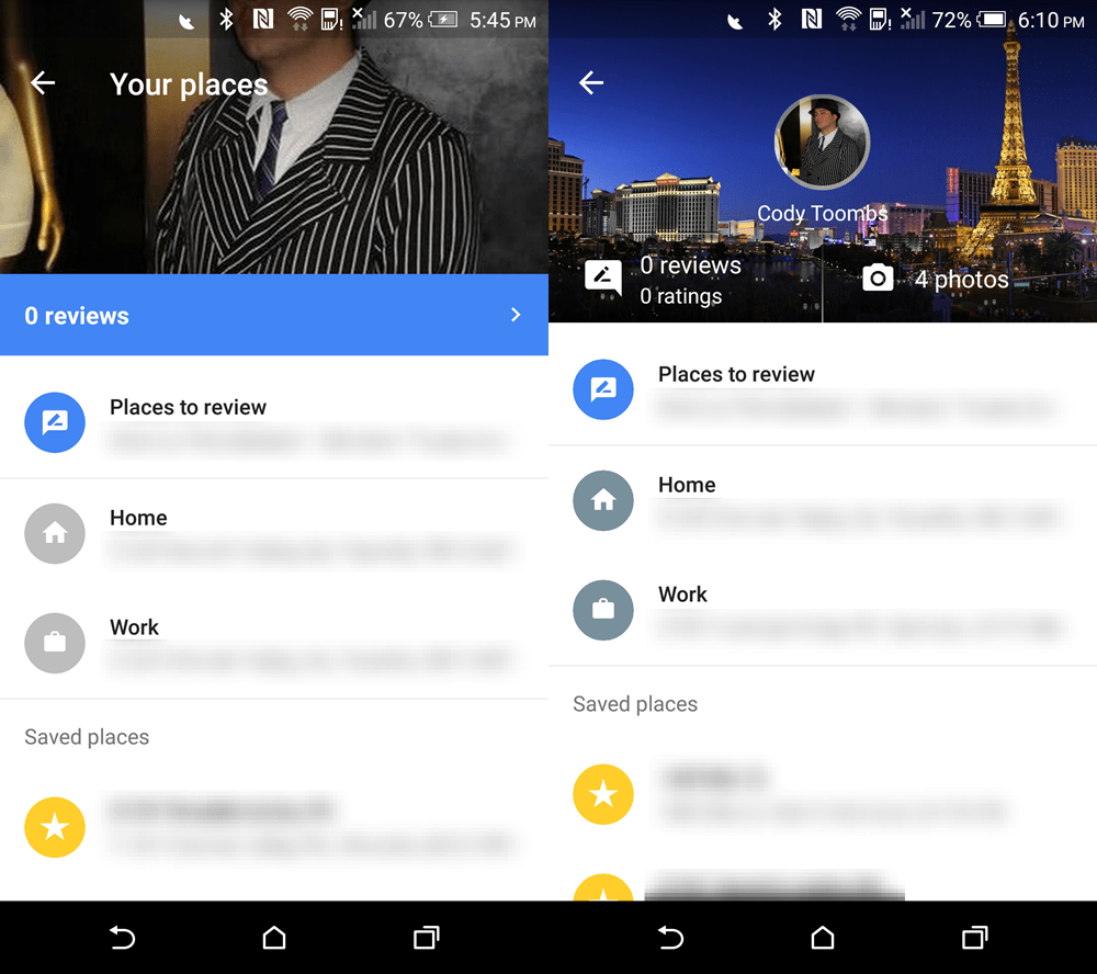 Google Maps - Your Places
