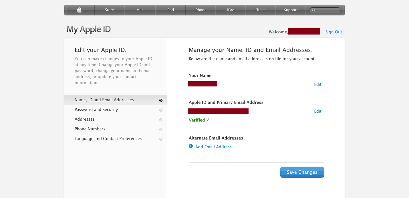 Apple ID Change