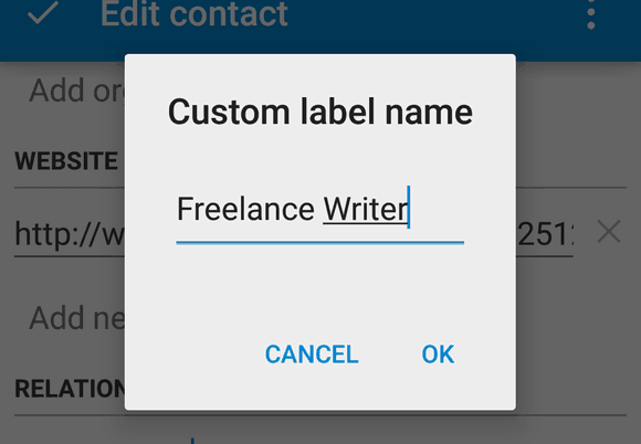 Android Contacts app - Add custom label