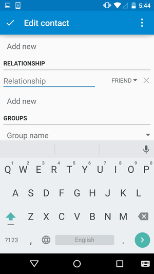 Android Contacts app - Add relationship