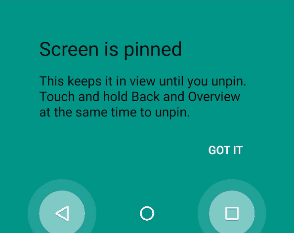 Screen is pinned notification