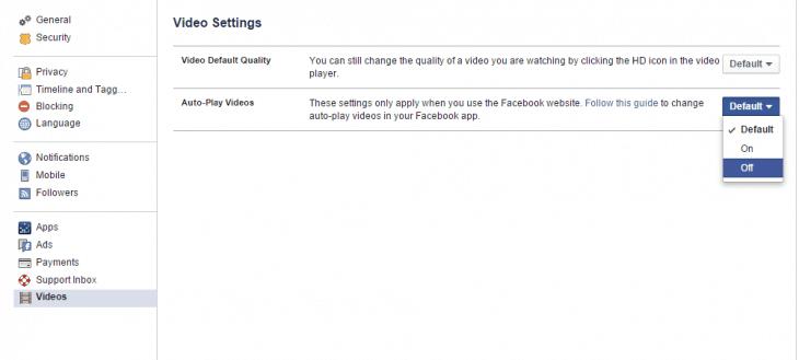 Facebook Web Settings