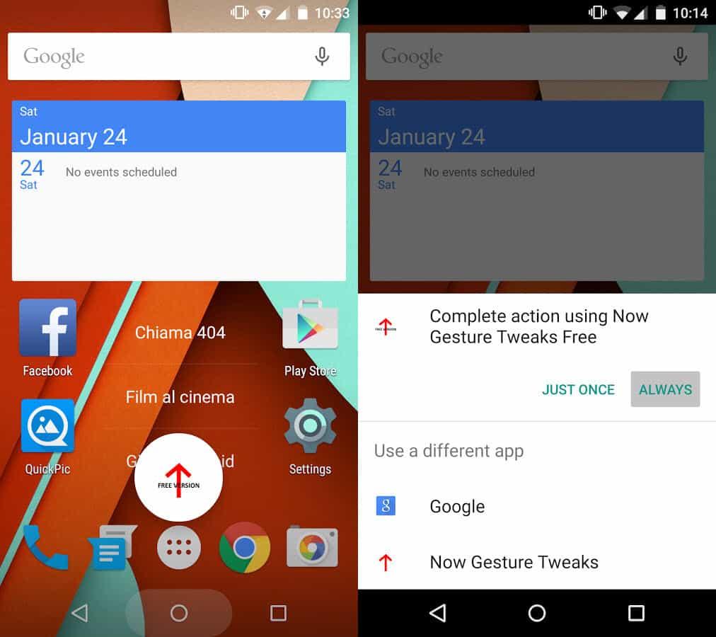 Google Now gesture - Set Now Gesture Tweaks as default handler