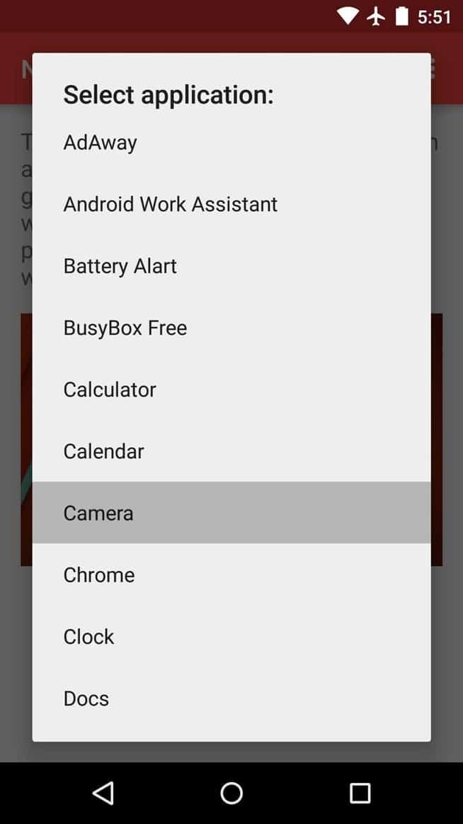 Now Gesture Tweaks - Select application