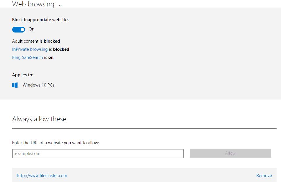 Web Browsing Settings