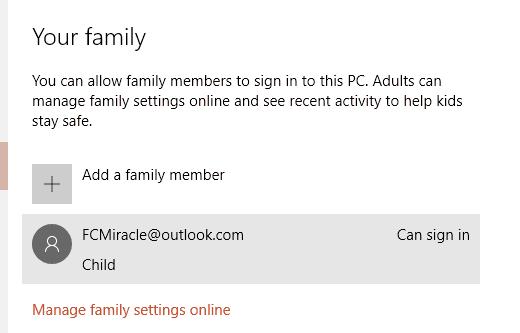 Windows 10 Family Members