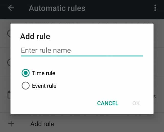 Android Marshmallow - Do Not Disturb add rule
