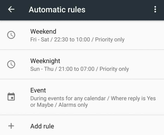 Android Marshmallow - Do Not Disturb automatic rules