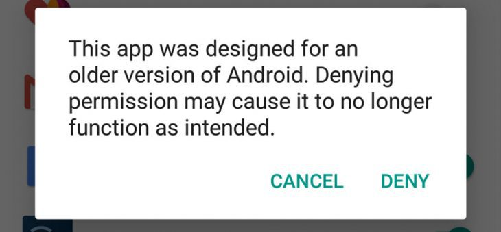 Android Marshmallow - Permission warning for old app