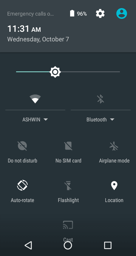 Android Marshmallow - Quick Settings