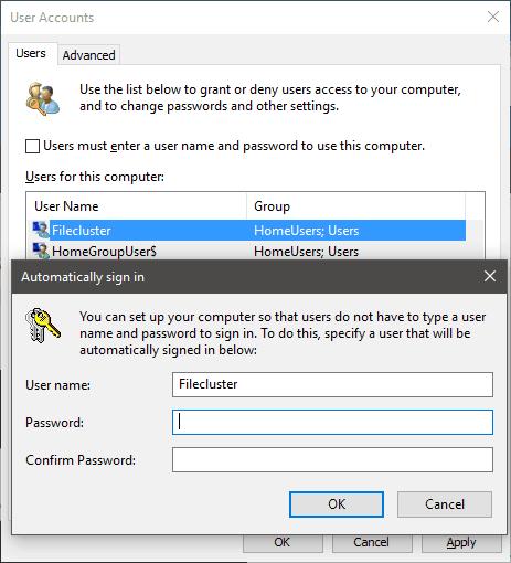 User Accounts Auto-Login