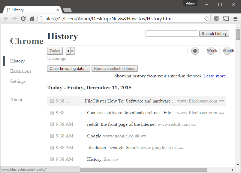 Chrome History HTML