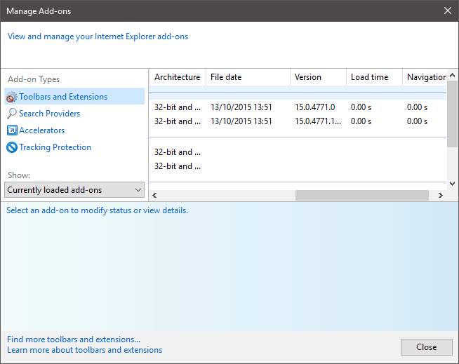 Internet Explorer Add-ons
