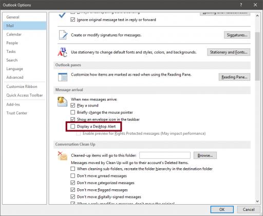 Outlook Disable Desktop Alert