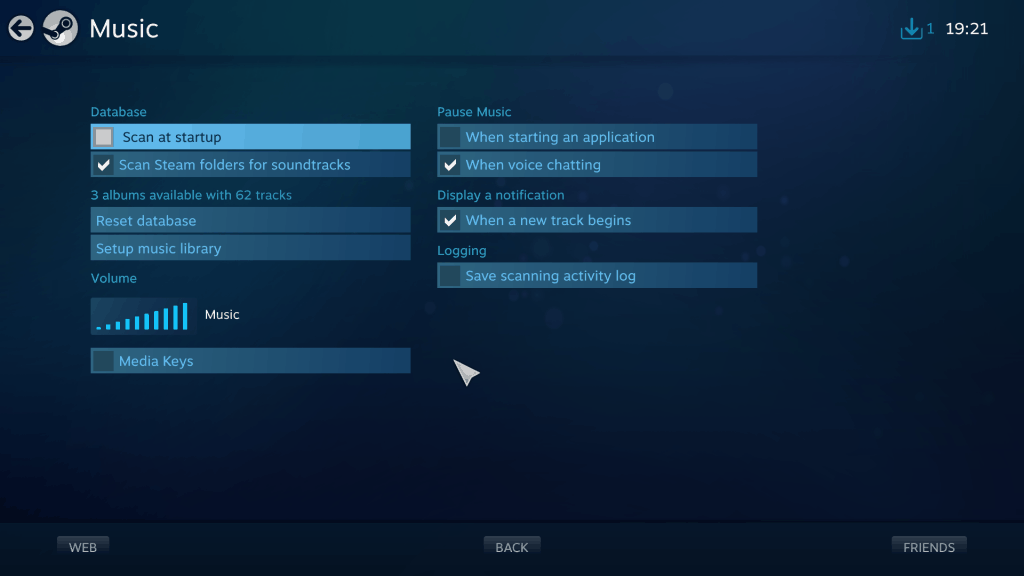 Steam Big Picture Music Settings