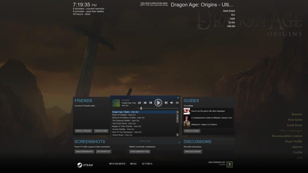 Steam Music Overlay