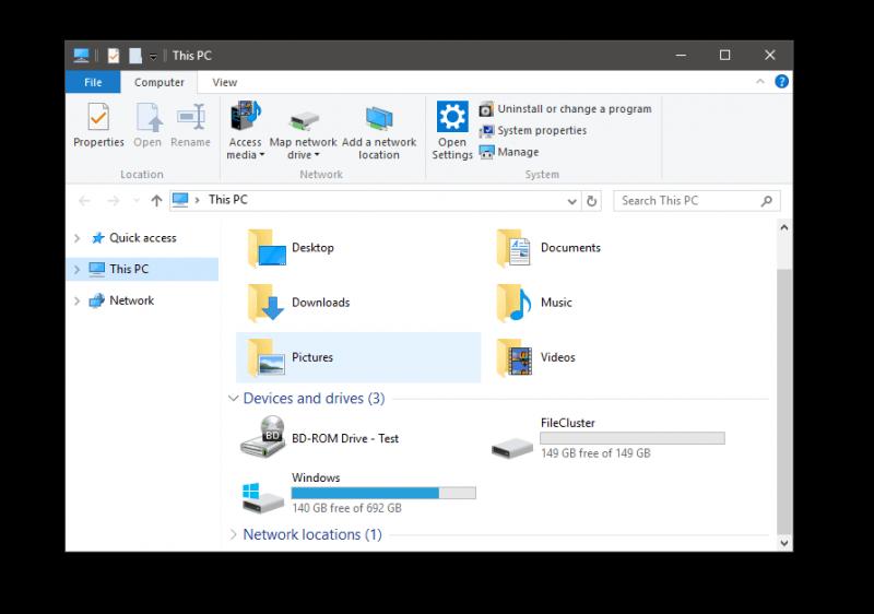 Storage Spaces File Explorer