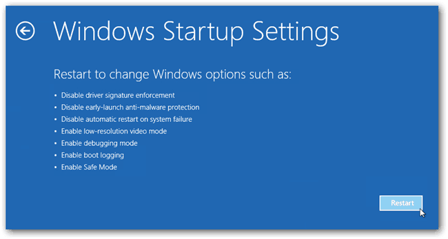 Windows Startup Settings